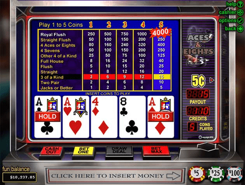 Aces and Eights Video Poker Tableau